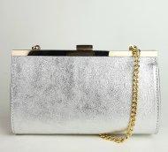 Dámská italská kožená kabelka 1290 MIR - Stříbrná hladká
