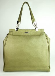 Dámská kožená kabelka FACEBAG TORRINA - Metalická zelená