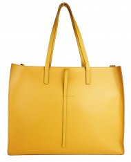 Dámská kožená kabelka FACEBAG CHERI - Tmavá žlutá *safiano*