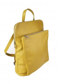 Dámský italský kožený batoh KUBA - Tmavá žlutá *dolaro*