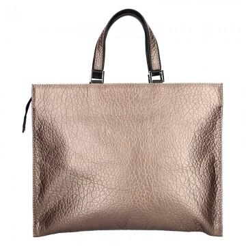 Dámská kožená kabelka FACEBAG BUSSY - Metalický pudr dolaro