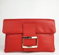 Dámská italská kožená kabelka 6176 HR - Červená *dolaro*