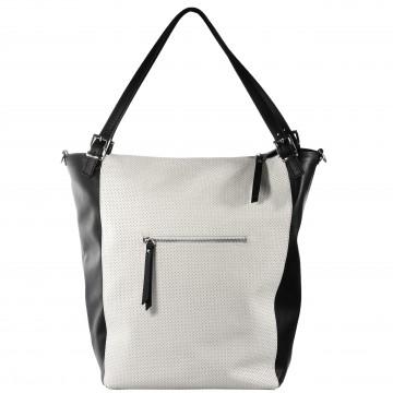 Dámská kožená kabelka FACEBAG RIRI - Černá + bílá