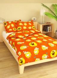 Povlečení dětské bavlna velká postel Ovečky oranžové, Výběr zapínání: - nitěný knoflík