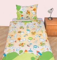 Povlečení dětské bavlna velká postel Letadýlko béžové, Výběr zapínání: - nitěný knoflík