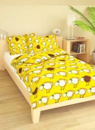 Povlečení dětské bavlna velká postel Ovečky žluté, Výběr zapínání: - nitěný knoflík