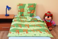 Povlečení dětské bavlna velká postel Žirafa zelená, Výběr zapínání: - nitěný knoflík