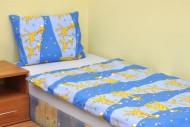 Povlečení dětské bavlna velká postel Žirafa modrá, Výběr zapínání: - nitěný knoflík
