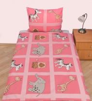 Povlečení dětské bavlna velká postel Safari růžové, Výběr zapínání: - nitěný knoflík