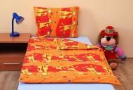 Povlečení dětské bavlna velká postel Žirafa oranžová, Výběr zapínání: - nitěný knoflík