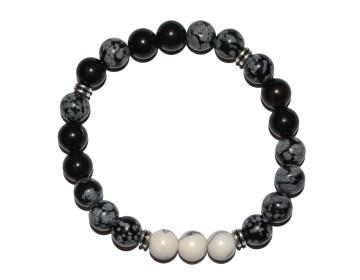 Černo šedý náramek s bílo černými korálky
