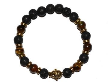 Náramek z lávových kamenů a magicky hnědých korálků se zlatým buddhou
