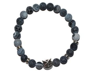 Náramek z přírodně modrých kamenů se stříbrnou sovou