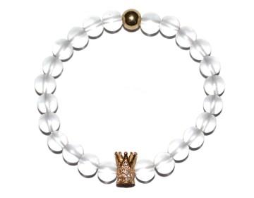 Náramek z bílých perel se zlatou korunkou