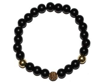 Černý náramek s černo zlatým korálkem