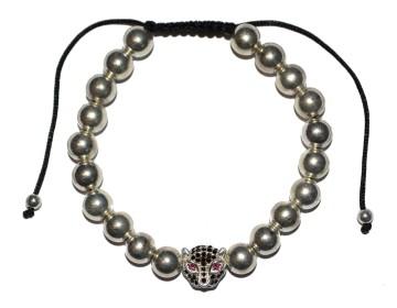 Náramek ze stříbrných korálků s černo stříbrným leopardem