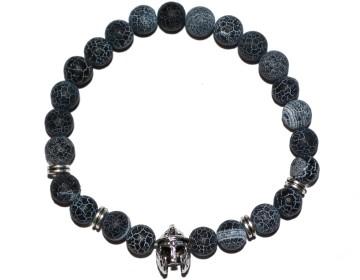 Náramek z přírodně modrých kamenů se stříbrným gladiátorem