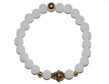 Náramek z bílých perel se zlatým buddhou