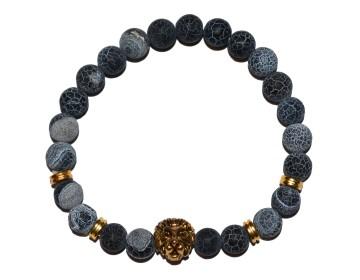 Náramek z přírodně modrých kamenů se zlatým lvem