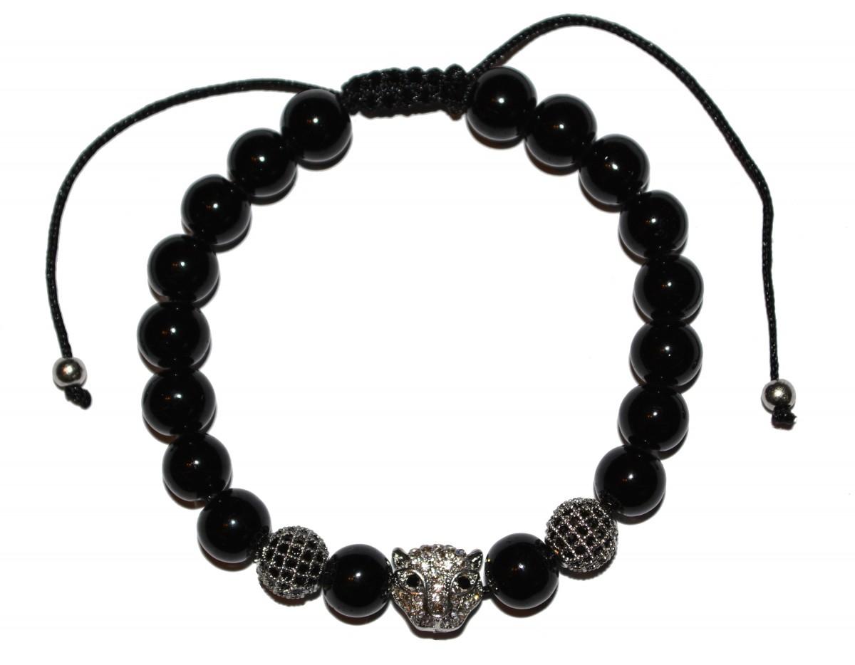 Leskle černý náramek se stříbrnými korálky a leopardem