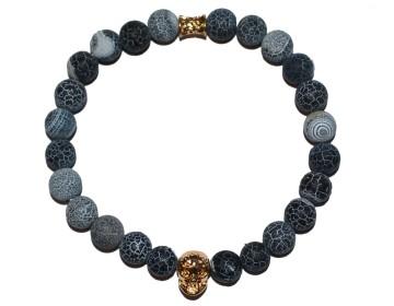Náramek z přírodně modrých kamenů se zlatou lebkou