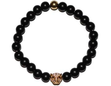 Matně černý náramek se zlatým leopardem
