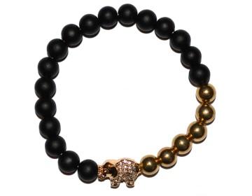 Matně černý náramek se zlatými korálky a slonem