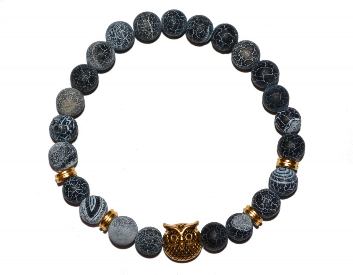 Náramek z přírodně modrých kamenů se zlatou sovou