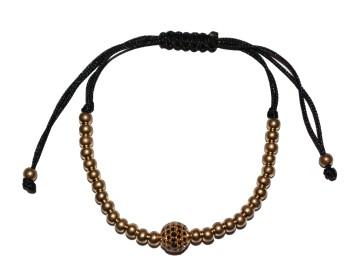 Zlatý macramé náramek s černo zlatým korálkem