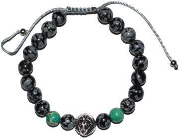 Černo šedý náramek s magickými zelenými korálky a lvem