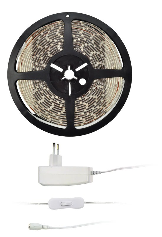 Světelný pás Solight LED - testr, 5m, sada s 12V adaptérem, 4,8W/m, IP65 (studená bílá)