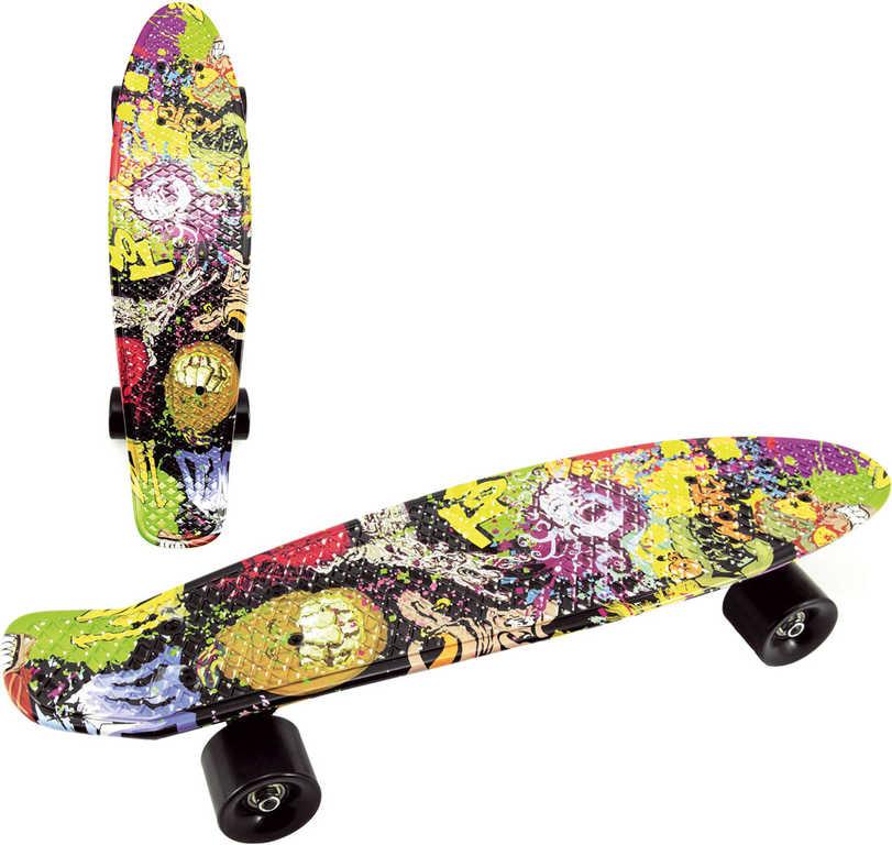 Skateboard dětský pennyboard barevná grafika 60cm kovové osy černá kola