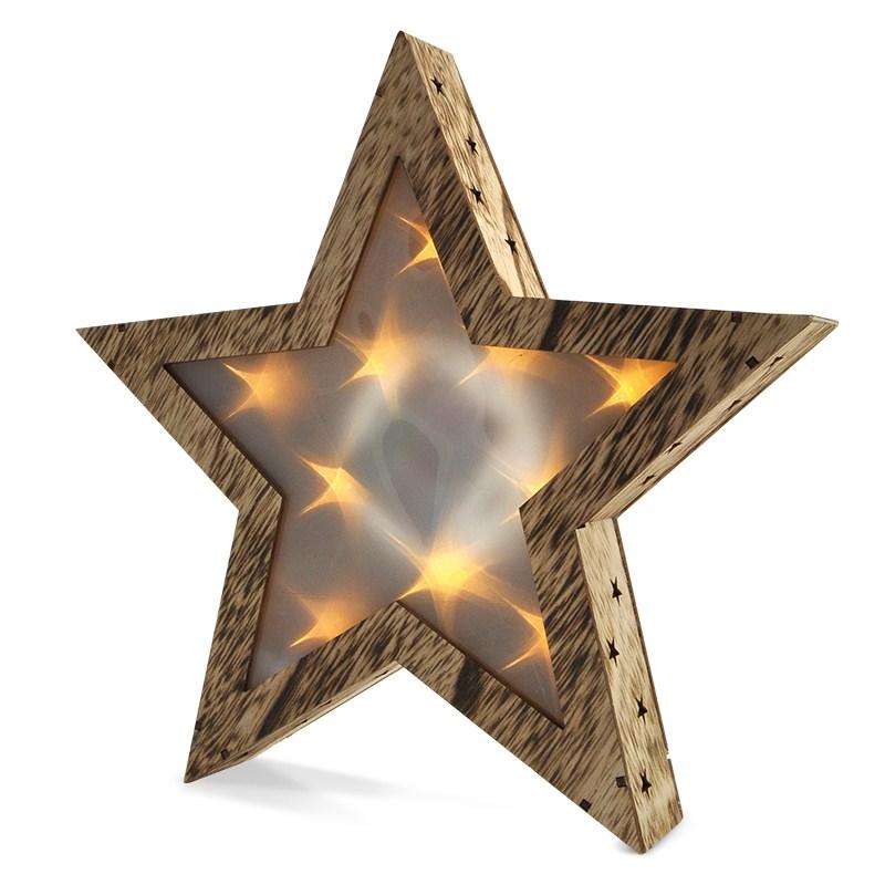 Dřevěná vánoční hvězda Solight LED