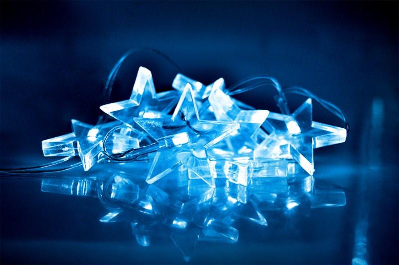 Modrý vánoční řetěz Solight LED - hvězdy, 10 LED, 1,5 m, na baterie