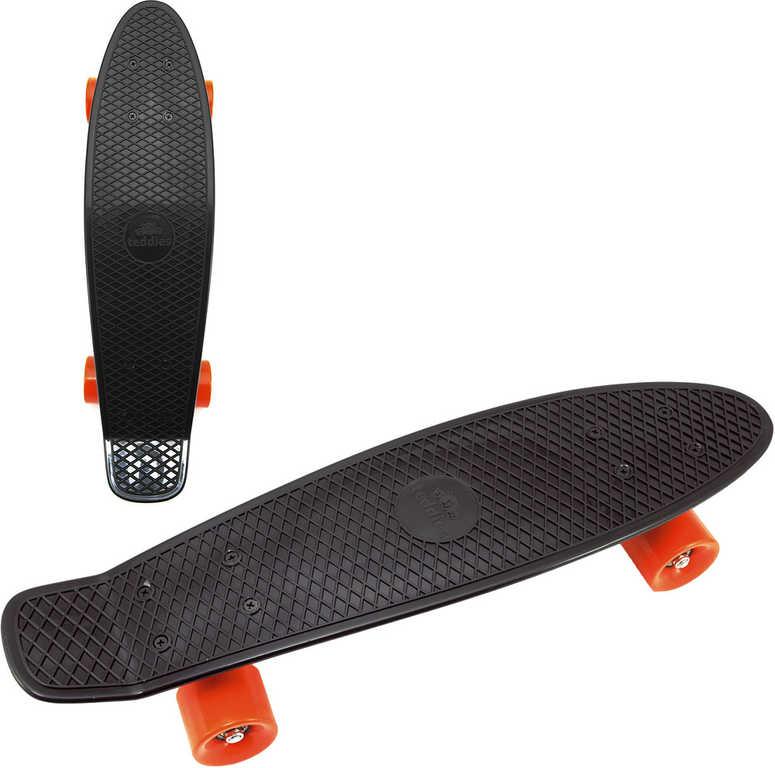 Skateboard dětský pennyboard černý 60cm kovové osy oranžová kola