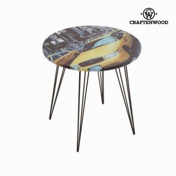 Round centre table with yellow taxi design by Craftenwood