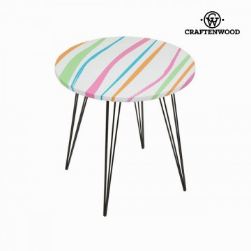 Round centre table with barvaed stripe design by Craftenwood