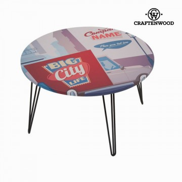 Round centre table with city design by Craftenwood