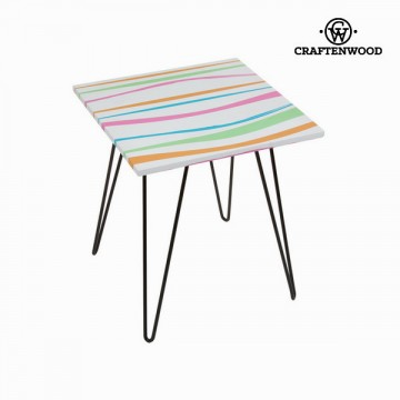 Square table with barvaed stripes by Craftenwood