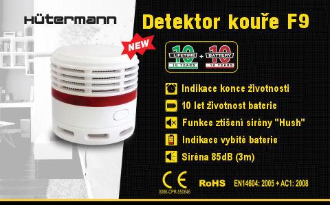 Požární hlásič kouře Hutermann F9, baterie s 10 let životností