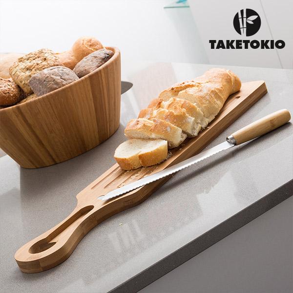 Bambusowa Deska do Krojenia Chleba i Nóż TakeTokio