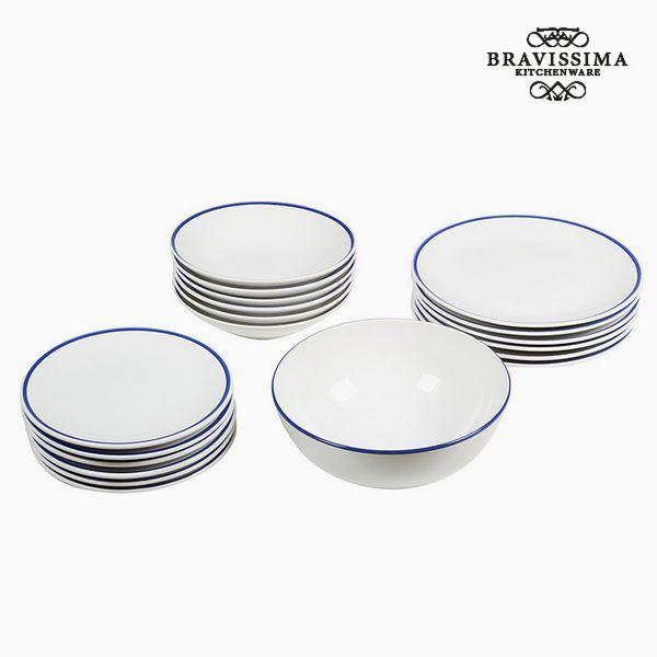 Posuđe za jelo Keramički pribor za jelo Bílý Námořnický modrý (19 pcs) - Kitchen's Deco Kolekce by B