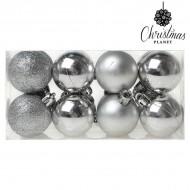 Vianočné gule Christmas Planet 6868 4 cm (16 uds) Striebristý
