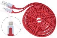 Opletený nabíjecí a synchronizční lightning kabel pro zařízení Apple (2m) - Červený