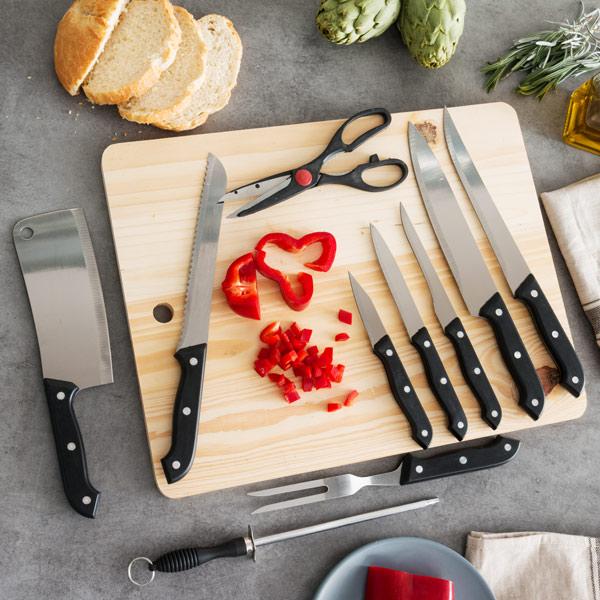 Sada Nožů s Brouskem a Dřevěným Prkénkem (11 částí)