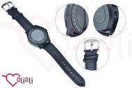 Chytré hodinky s bluetooth SMART WATCH - Kulaté s koženkovým řemínkem