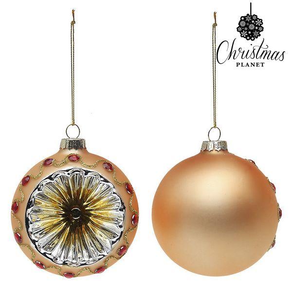 Vánoční koule Christmas Planet 1730 8 cm (2 uds) Sklo Zlatá