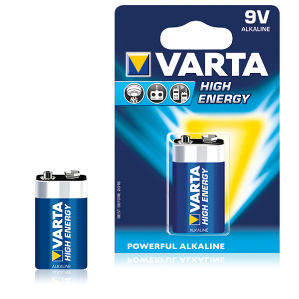Alkalická baterie Varta 9 V 580 mAh High Energy Modrý