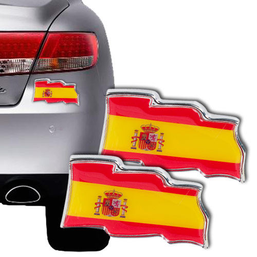 Naklejka na samochód Flaga Hiszpanii (dwupak)
