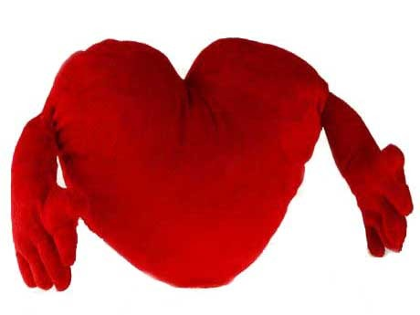 Pluszowe czerwone serce z rękami 70cm